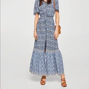 Mango Casual Boho Long Maxi Print Skirt Knee Slit